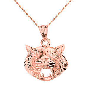 Diamond Cut Roaring Tiger Head Pendant Necklace  in Solid Gold (Yellow/Rose/White)