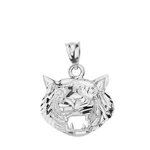Solid White Gold Diamond Cut Roaring Tiger Head Pendant Necklace