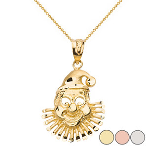 Diamond Cut Clown Pendant Necklace  in Solid Gold (Yellow/Rose/White)