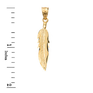 Solid Yellow Gold Diamond Cut Boho Feather Pendant Necklace