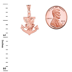 American Eagle Mariners Anchor Pendant Necklace in Rose Gold