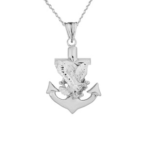 American Eagle Mariners Anchor Pendant Necklace in White Gold