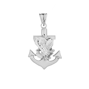 American Eagle Mariners Anchor Pendant Necklace in Sterling Silver