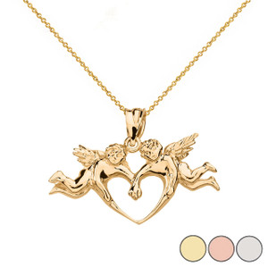 Cherub Angels Love Heart Pendant Necklace in Solid Gold (Yellow/Rose/White)