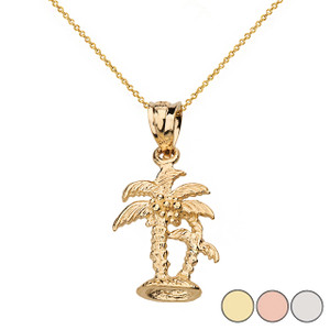 Texture Double Palm Trees Pendant Necklace in Solid Gold (Yellow/Rose/White)