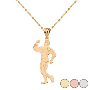 Weightlifting Fitness Male Bodybuilder Pendant Necklace in Solid Gold (Yellow/Rose/White)