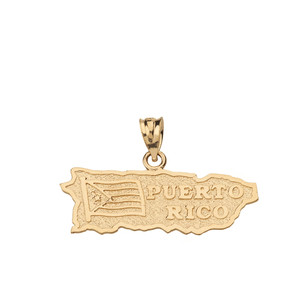 Solid Yellow Gold Puerto Rico Map Pendant Necklace