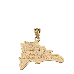 R.P Dominicana  Map Pendant Necklace  in Solid Gold (Yellow/Rose/White)
