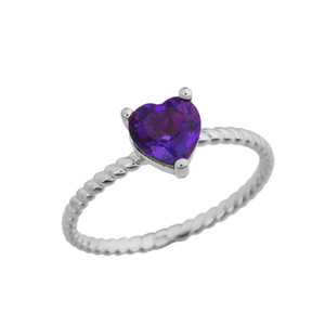 Dainty Genuine Amethyst Heart Rope Ring in White Gold