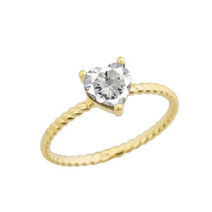 Dainty Cubic Zirconia Heart Rope Ring in Yellow Gold