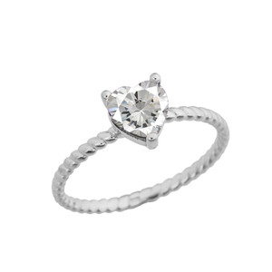 Dainty Cubic Zirconia Heart Rope Ring in White Gold