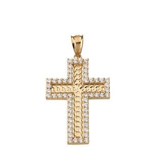 Cubic Zirconia Cubic Link Chain Cross Pendant Necklace in Solid Gold (Yellow/Rose/White)