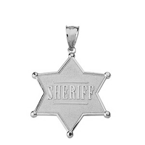 Sterling Silver Sheriff Badge 6 Point Star Pendant Necklace