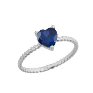 Dainty Sapphire (LCS) Heart Rope Ring in White Gold