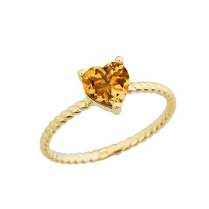 Dainty Genuine Citrine Heart Rope Ring in Yellow Gold