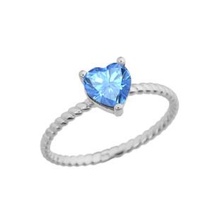 Dainty Genuine Blue Topaz Heart Rope Ring in White Gold