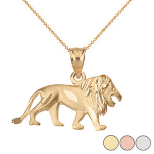 Sparkle Cut Leo Zodiac Royal Lion Pendant Necklace in Solid Gold (Yellow/Rose/White)