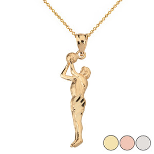 Gold Sparkle Cut Men's Basketball Pendant Necklace in Solid Gold (Yellow/Rose/White)