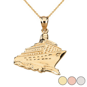 Cruise Ship Ocean Liner Pendant Necklace in Solid Gold (Yellow/Rose/White)
