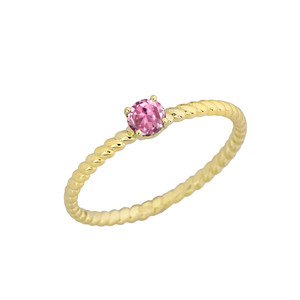 Stackable  Rope Ring With Pink CZ  in Yellow Gold