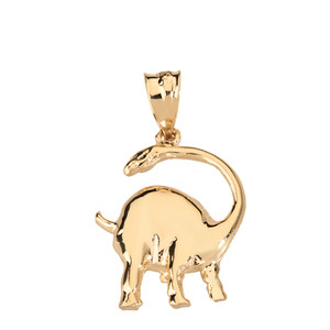 Brachiosaurus Dinosaur Pendant Necklace in Solid Gold (Yellow/Rose/White)