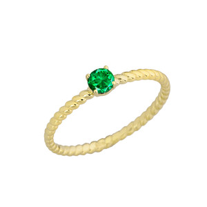 Genuine Emerald Stackable Rope Ring in Yellow Gold