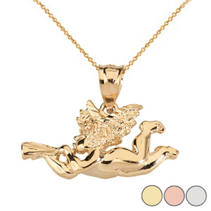 Cherub Angel Pendant Necklace in Solid Gold (Yellow/Rose/White)