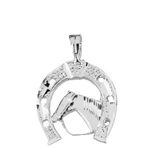 Sparkle Cut Equestrian Horseshoe and Horse Pendant Necklace in Solid Gold (Yellow/Rose/White)