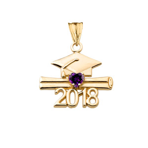 Class of 2018 Graduation Birthstone CZ Pendant Necklace in Yellow Gold