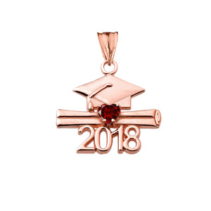 Class of 2018 Graduation Birthstone CZ Pendant Necklace in Rose Gold