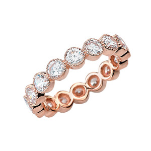 Chic Cubic Zirconia Eternity Band in Rose Gold