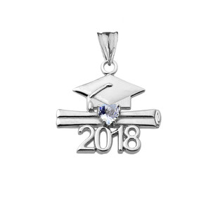 Class of 2018 Graduation Birthstone CZ Pendant Necklace in  Sterling Silver