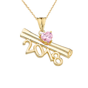 2018 Graduation Diploma Personalized Birthstone CZ Pendant Necklace In Yellow Gold