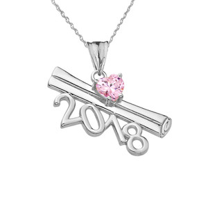 2018 Graduation Diploma Personalized Birthstone CZ Pendant Necklace In White  Gold