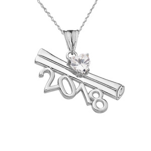 2018 Graduation Diploma Personalized Birthstone CZ Pendant Necklace In Sterling Silver