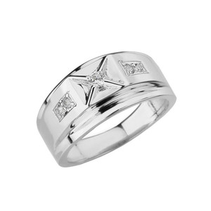 Classy Mens Diamond Ring in White Gold