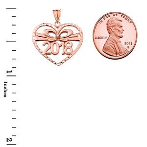 Diamond 2018 Graduation heart Pendant Necklace In Rose  Gold