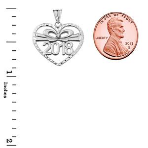 Diamond 2018 Graduation heart Pendant Necklace In  Sterling Silver