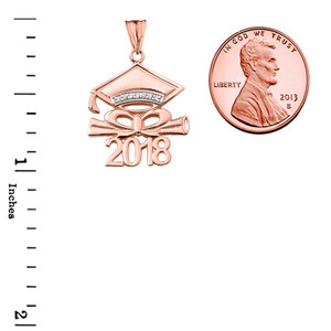 Diamond 2018 Graduation Cap And Diploma  Pendant Necklace In Rose Gold