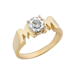 "Yellow Gold Personalized ""Mom"" Ring With CZ"