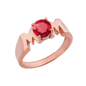 "Rose Gold Personalized ""Mom"" Ring With CZ"