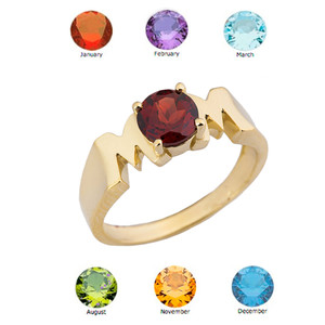 "Yellow Gold Personalized ""Mom"" Ring With Genuine Gemstone"
