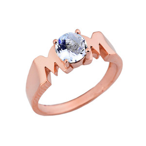 "Rose Gold Personalized ""Mom"" Ring With Genuine Gemstone"