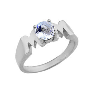 """White Gold Personalized """"Mom"""" Ring With Genuine"""