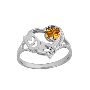 """White Gold Personalized """"Mom"""" Solitaire Open Heart Ring With Genuine Gemstone"""