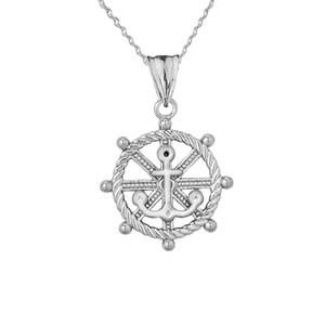 Anchor with Roped Helm in White Gold