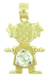 CZ Crystal Gem Girl Yellow Gold Birthstone Charm