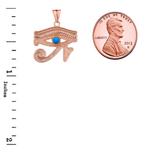 Copy of Eye of Horus (Ra) with Turquoise Center Stone Pendant Necklace in Rose Gold