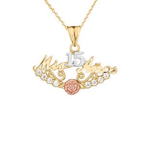 """""""Mis 15 Años"""" Quinceañera Pendant Necklace in Tri-Toned Gold"""