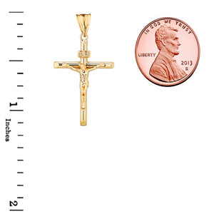 Crucifix Cross (INRI) Pendant Necklace in Yellow Gold